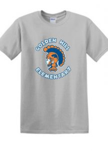 A grey t-shirt with an orange and blue spartan logo