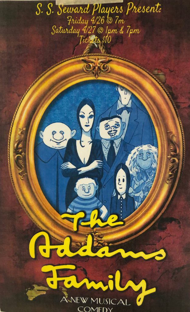 Addams Family show poster with show dates and times, and cartoon image of the Addams'