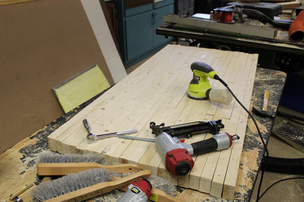 A work bench top in the making