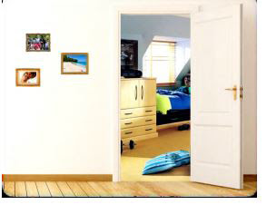 Image of a bedroom as seen from a hallway