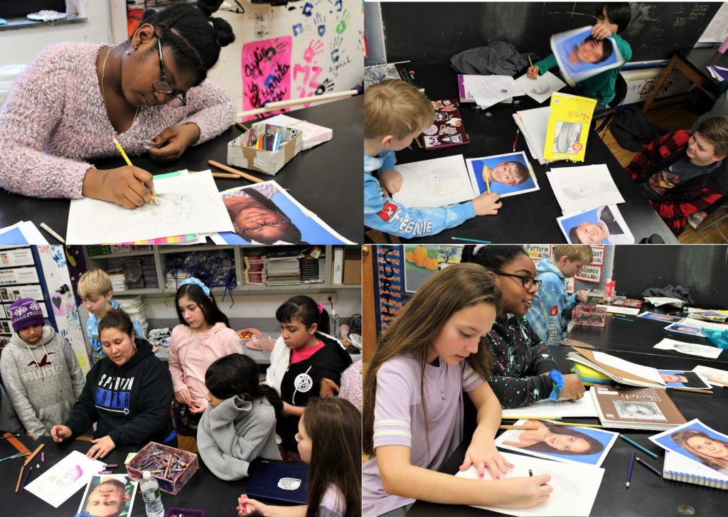Photo collage of students working on their self-portraits.