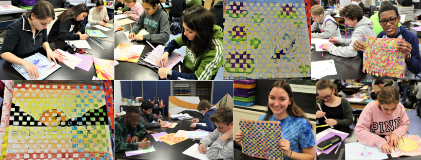 Photo collage of students working on paper weaving projects.