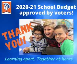 graphic thanking voters for their support of the school budget