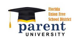 A graduation cap and tassel. Next to it says Florida Union Free School District parent University