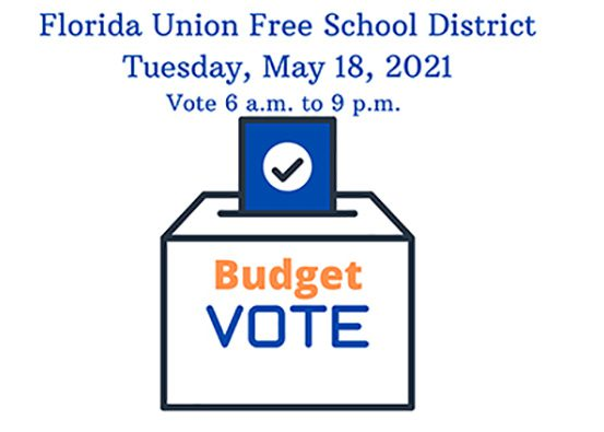 A ballot box with the words Budget Vote and a paper with a check mark on it. Heading says Florida Union Free School District Tuesday, May 18, 2021 Vote 6 a.m. to 9 p.m.