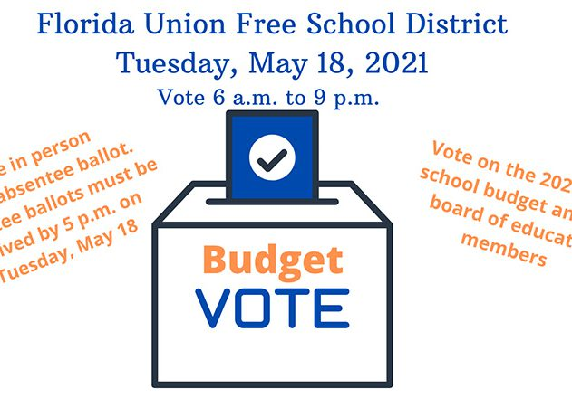 A ballot box with the words Budget Vote on it in orange and blue. Top says Florida Union Free School district Tuesday, May 18, 2021 Vote 6 a.m. to 9 p.m. Absentee ballots available from the district clerk. Must be returned by Tuesday, May 18 at 5 p.m.