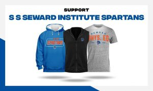 Three shirts/sweatshirts that say Spartans on them. One is blue with a hood, the next is black and the third is gray. Along the top it says Support Seward Institute Spartans